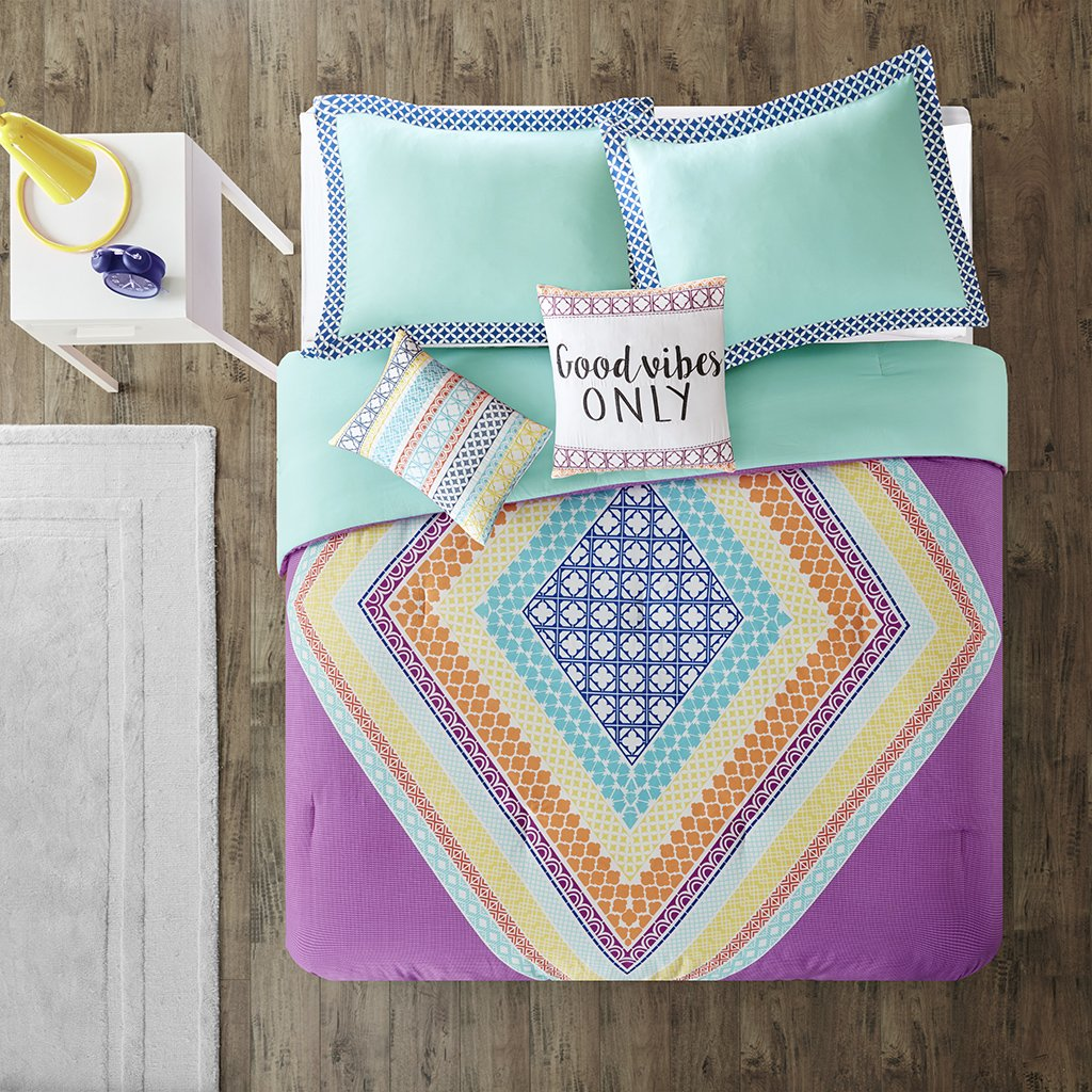 Intelligent Design Lani Comforter Set Full/Queen Size - Purple, Aqua, Geometric Diamond – 5 Piece Bed Sets – Ultra Soft Microfiber Teen Bedding for Girls Bedroom