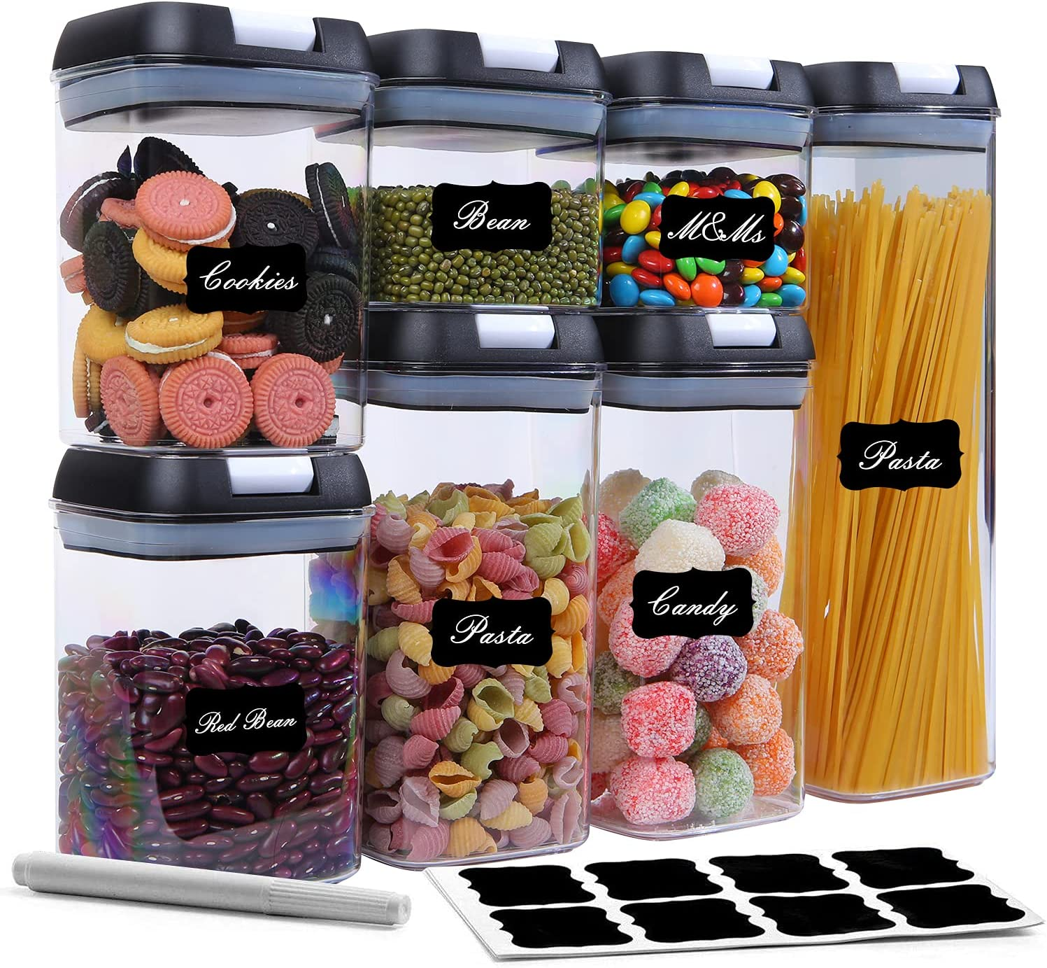 Airtight Food Storage Containers Set, BPA Free Cereal & Dry Food Storage Containers Set, 7 Pieces Kitchen & Pantry Organization Containers