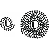 "Black GI Military Army Dog Tag Ball Chain Set (24"" & 4.5"")"