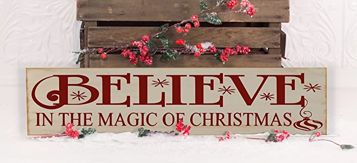 belive in the magic of christmas vinyl wooden subway art christmas sign 6 x 24quot - Subway Christmas Eve Hours