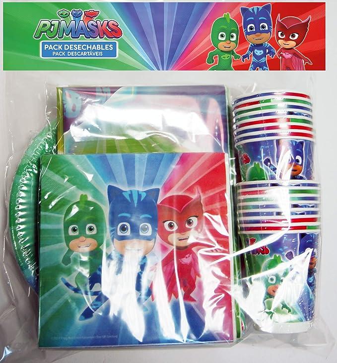 ALMACENESADAN 0461, Pack Desechables Fiesta y Cumpleaños PJ Masks, 16 Vasos, 16 Platos 23 cm, 20 servilletas y 1 Mantel 120x180 cms: Amazon.es: Juguetes y ...