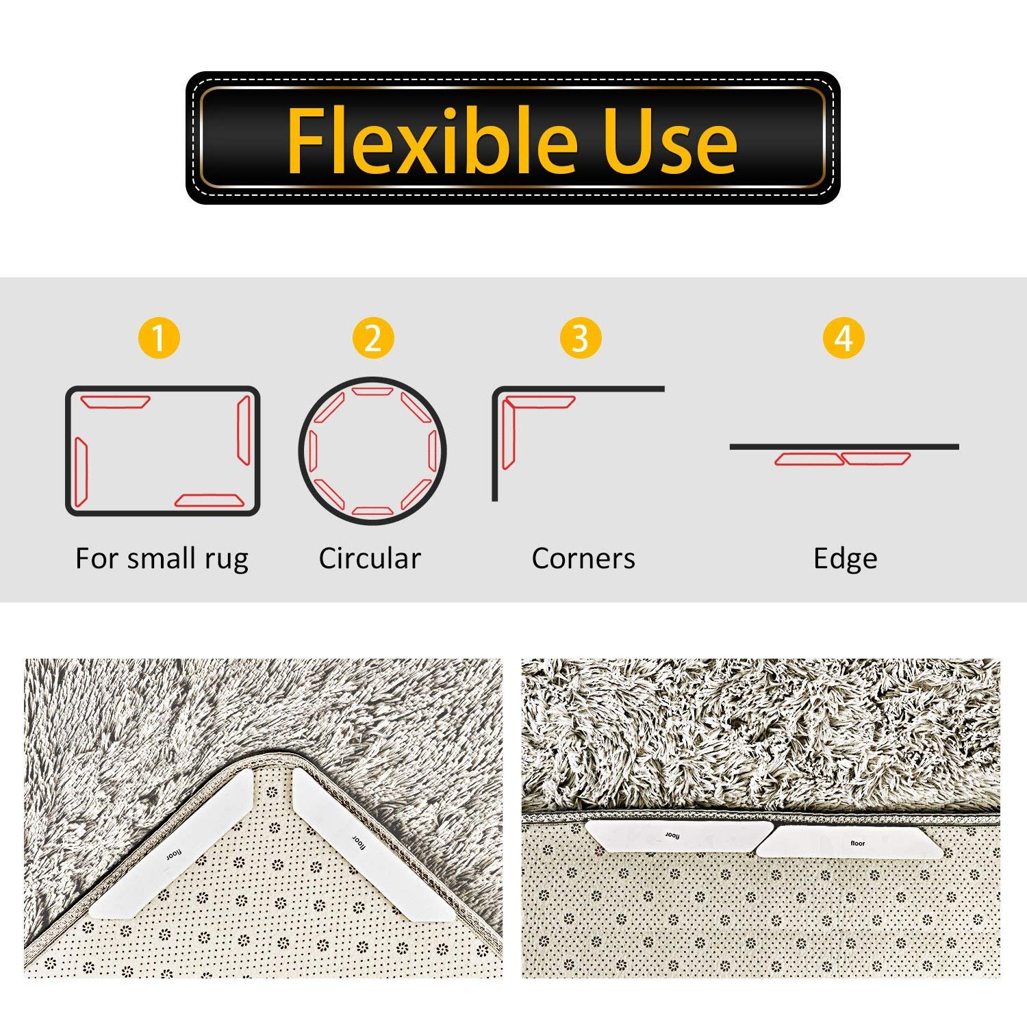 Rug Grippers 8pcs By Skinosm Ideal Two Sided Anti Slip Rug Pad Rug Grips For Hardwood Floors Reusable Anti Curling Carpet Gripper Keeps Your Rug In Place Makes Corners Flat Home