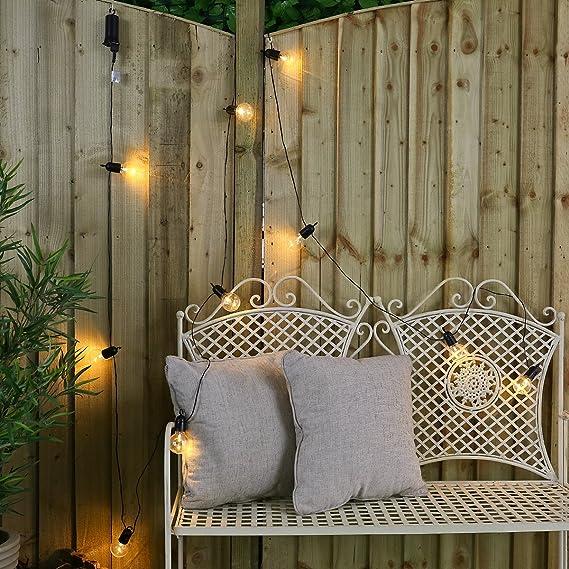 Guirnalda festiva para interior y exterior con 10 bombillas transparentes led de iluminación blanca cálida, 4,50 m, resistente al agua (a pilas): Amazon.es: ...