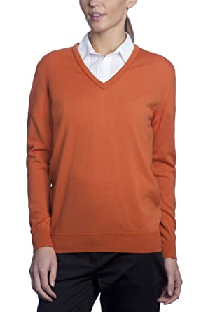 ca3feb3dd144 Great & British Knitwear Ladies RZ214 100% Merino Plain V-Neck Sweater-Spice