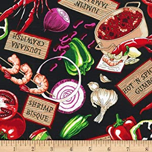 Robert Kaufman 0337216 Salsa Picante Cajun Delight Quilt Fabric By The Yard, Black