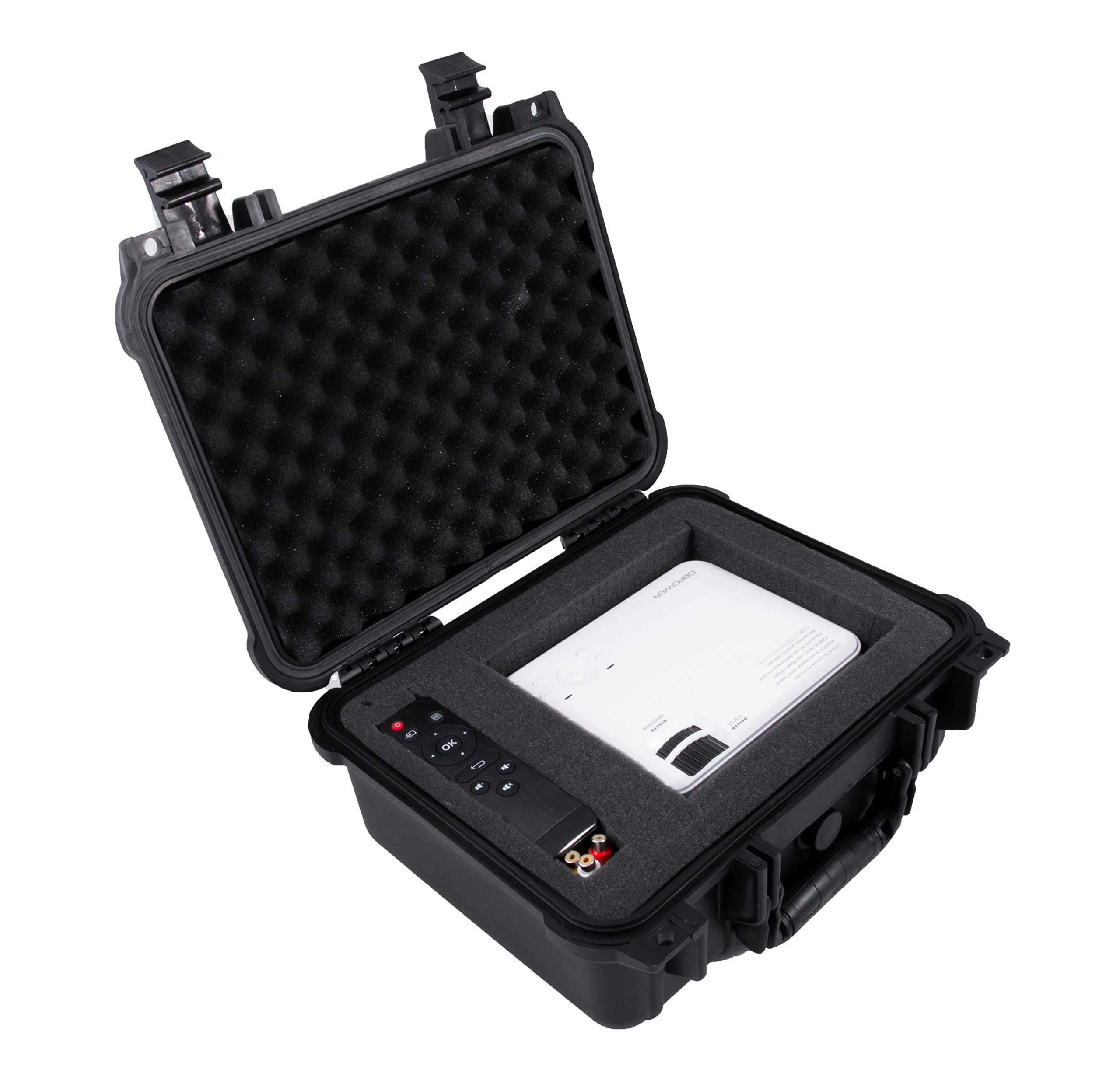CASEMATIX Waterproof Carrying Case Designed For DBPower T20 1500 Lumens Home Theatre Projector , Remote , Power Supply , Cables and Accessories