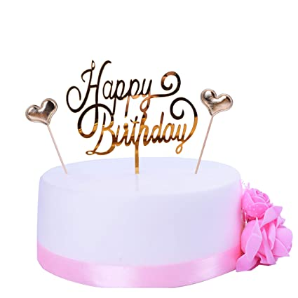 Amazon SHAMI Happy Birthday Cake Topper Gold Premium Quality Acrylic Cursive Cupcake Toppers Party Decoration Supplie Sign Banner
