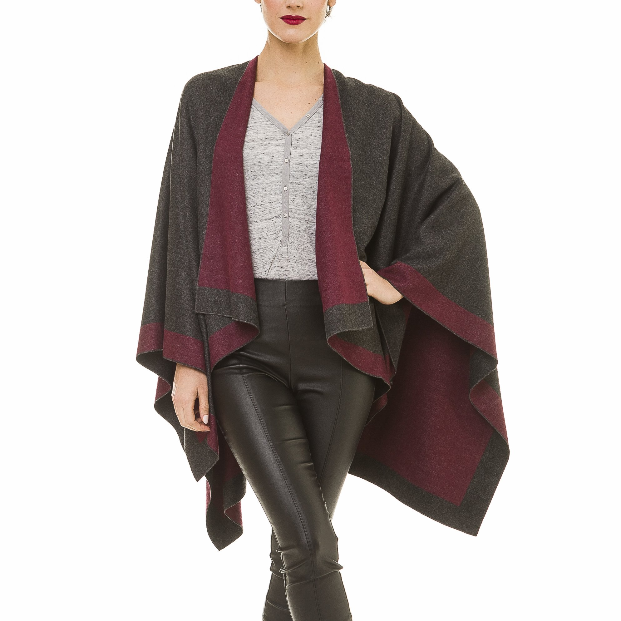 Cardigan Poncho Cape: Women Elegant Purple Gray Cardigan Shawl Wrap Sweater Coat for Winter (Gray Purple)