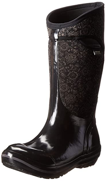 Bogs Womens Plimsoll Quilted Floral Tall Waterproof Insulated Boot       Black      6
