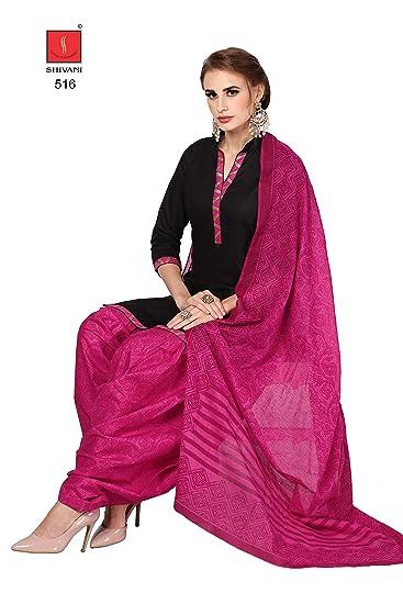 a4e0048034 Roha Fab 100% Cotton Black Black Dark Pink Formal Combination Salwar Suit  Salwar Suit Material For Girls Women RFHRGPATIYALA-516: Amazon.in: Clothing  & ...
