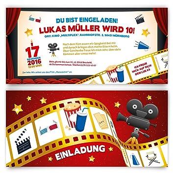 Cartes D Invitation Anniversaire D Enfant Cinema Film Billet Motif