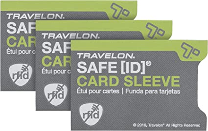 Travelon Safe Id Set of 3 RFID Blocking Sleeves, Gray