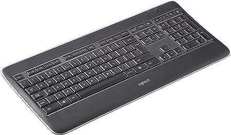 Logitech K800 Teclado Inalámbrico Retroiluminado para Windows, Disposición QWERTY US Internacional, Negro