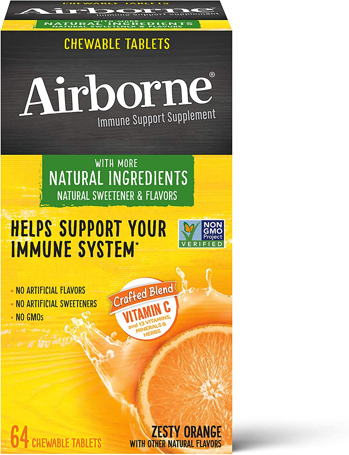 Vitamin C 1000mg (per serving) - Airborne Zesty Orange Chewable Tablets (64 count in a box), Gluten-Free Immune Support Supplement and High in Antioxidants