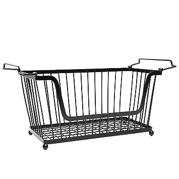 stackable black metal pantry organizer basket space saving home and kitchen storage bin solution