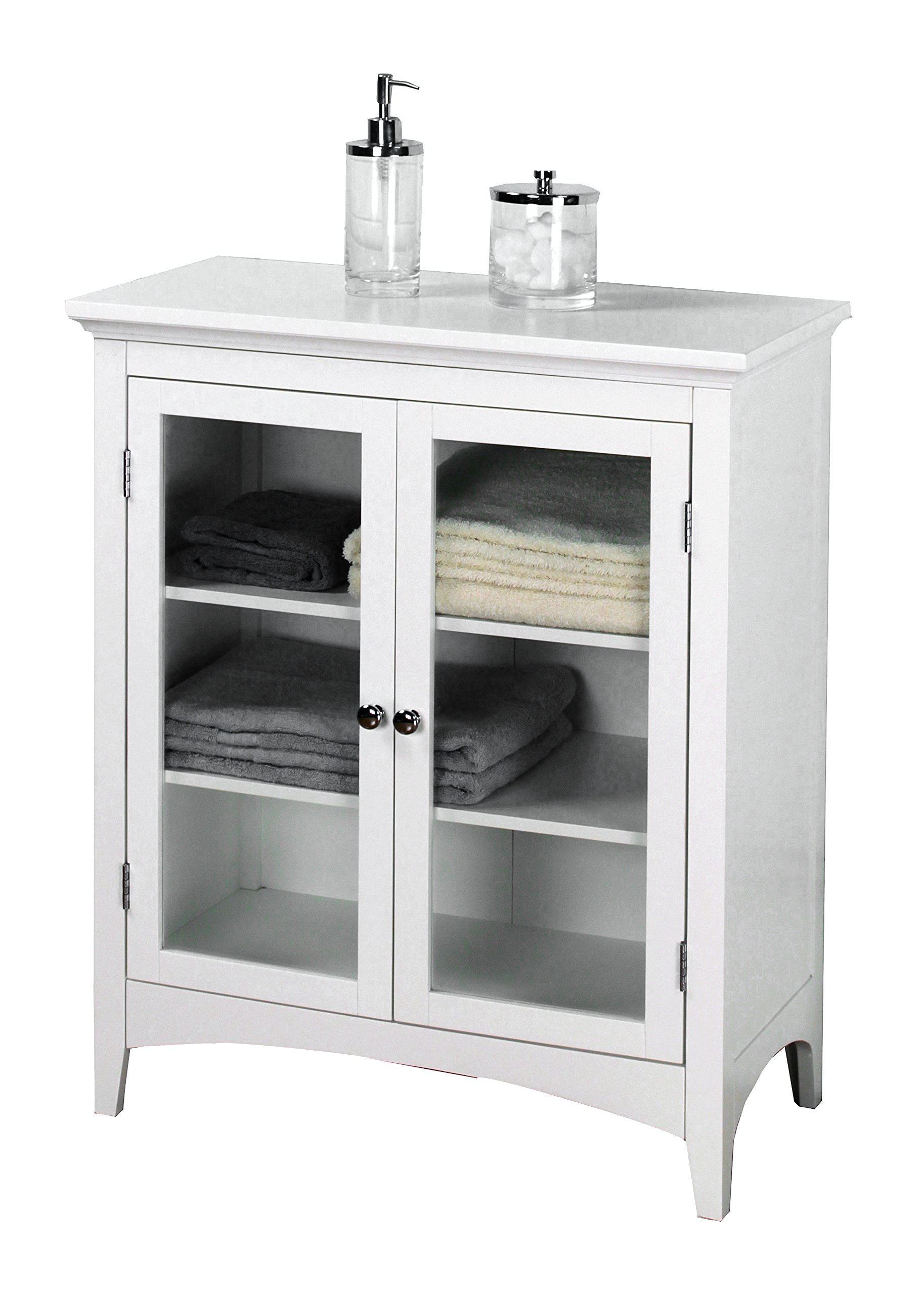 Elegant Home Fashions Madison Collection Shelved Double-Door Floor Cabinet, White by Elegant Home Fashions (Image #1)