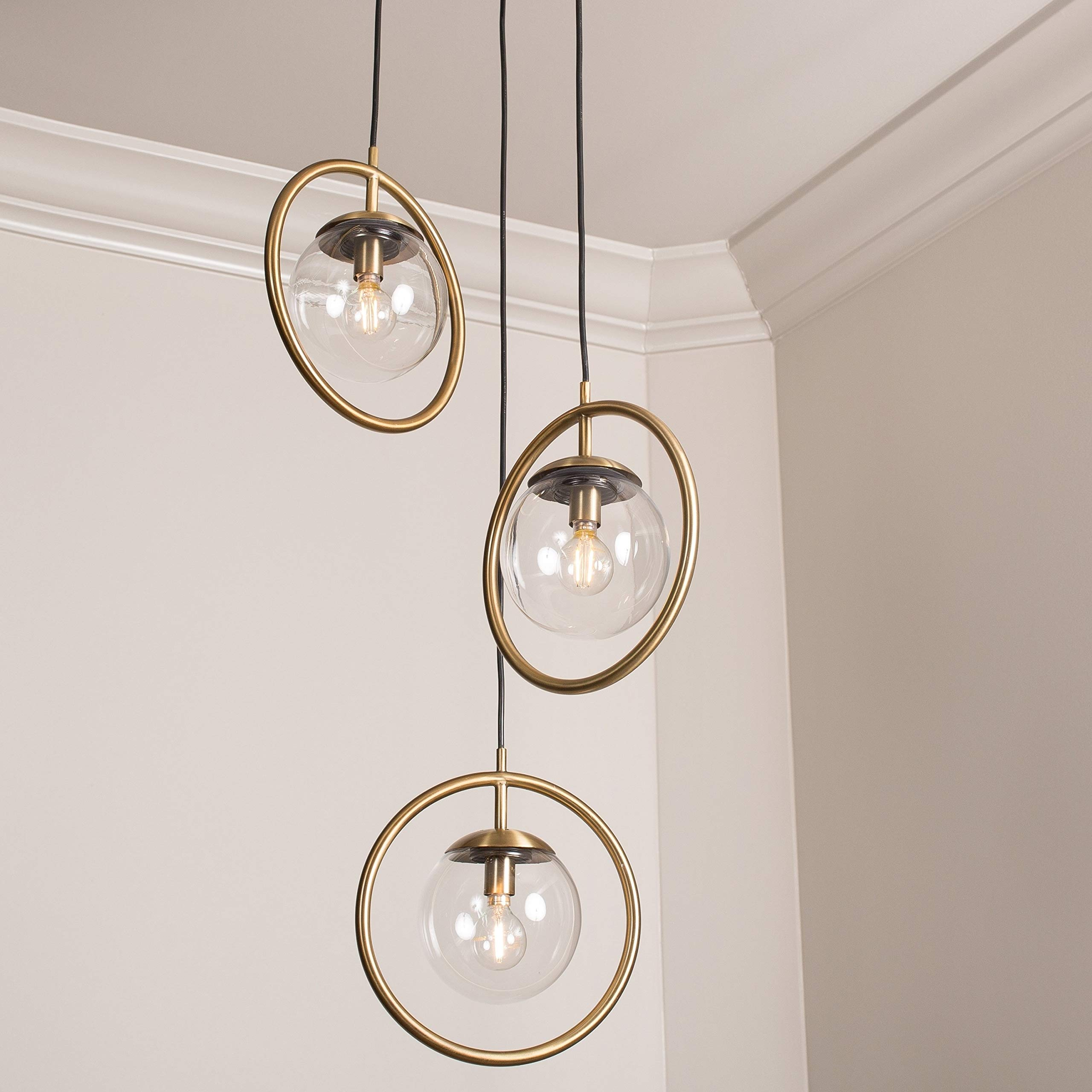 Strick & Bolton Troye Brass-Finished Steel and Copper 3-Light Pendant Light