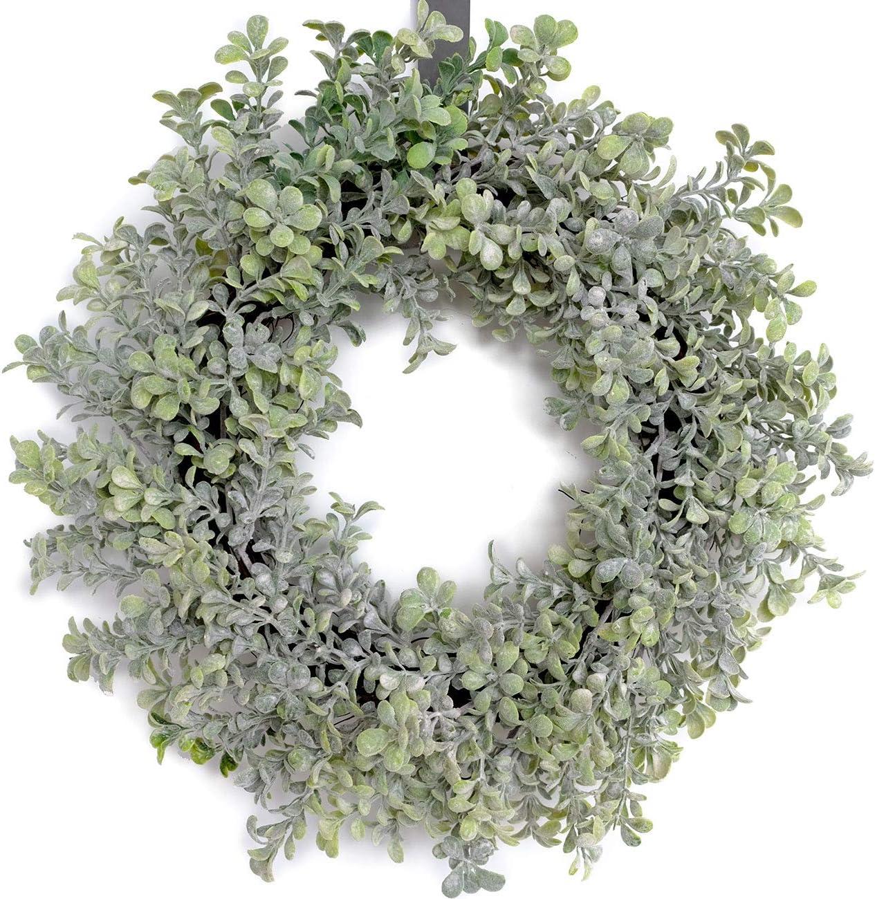 Bibelot 18 Inch Artificial Green Leaves Wreath Spring Wreath Farmhouse Decor for Front Door Wedding Wall Home Decor…