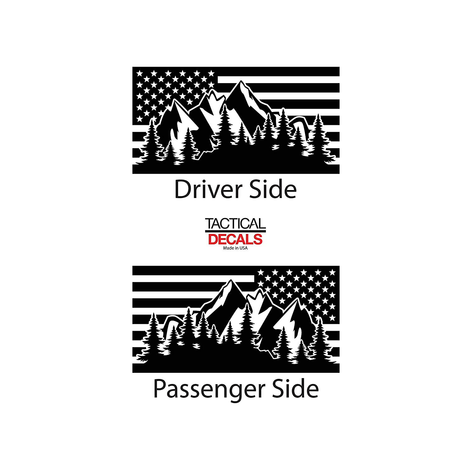 Matte Black 4 door American Flag w// Mountain Scene Decal for Jeep Grand Cherokee QR2-WK2.A