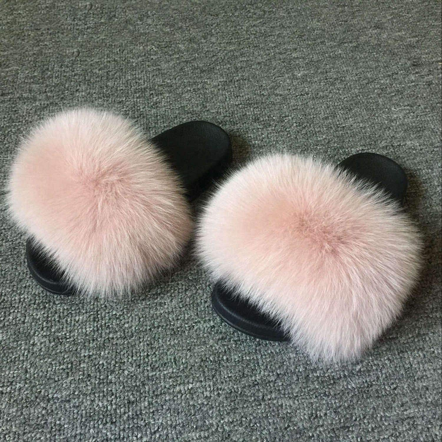 Pale Pink Blingbling-honored High end Real Fox Fur Slipper Women Slides Sliders Fashion Spring Summer Autumn Fluffy Fur Lady S6018