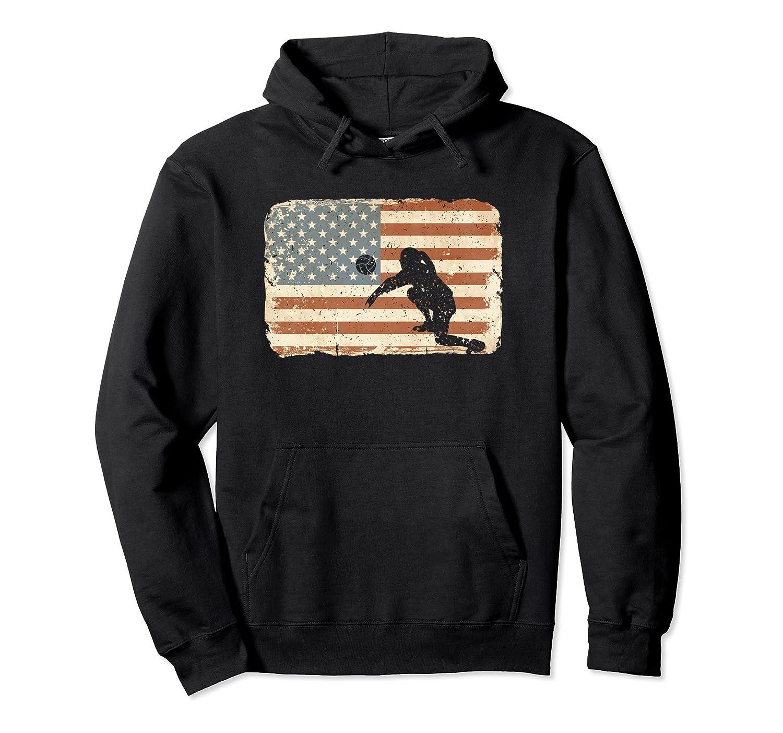 Vintage Volleyball Hoodie American Flag July 4th Sweatshirt-ln