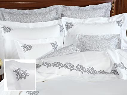 Duvets, Covers & Sets Bedding Attire 600 TC 100% Pure Egyptian Cotton 4 Piece Color Design Flower Ruffle Duvet Cover Set with Extra 2pc Pillow Shams Twin XL Size Solid Sky Blue and White Color