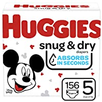 HUGGIES Snug & Dry Baby Diapers, One Month Supply, Size 5, White (156 Count)