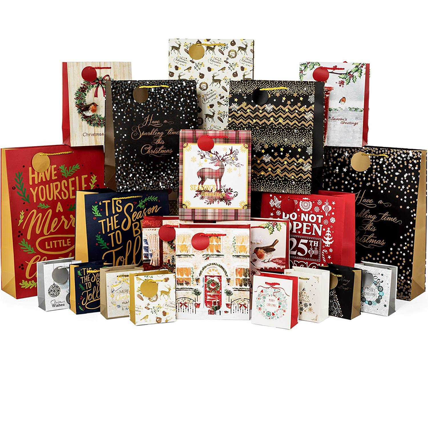 Christmas Bags In Bulk.24 Count Christmas Gift Bags Bulk Set Includes 4 Jumbo 6 Large 6 Medium 8 Small For Wrapping Holiday Gifts
