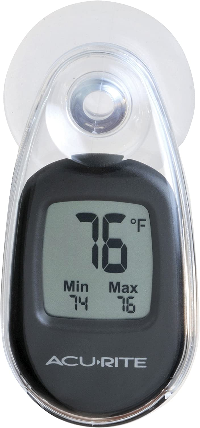 AcuRite 00318 Indoor Outdoor Suction Cup Digital Thermometer, Black 81xzzocjqzL