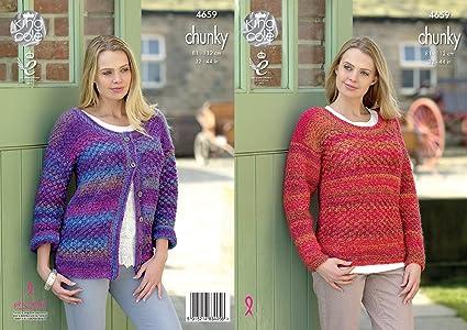 3c3034fb804b King Cole Womens Chunky Knitting Pattern Ladies Long Sleeved Cardigan    Sweater (4659)