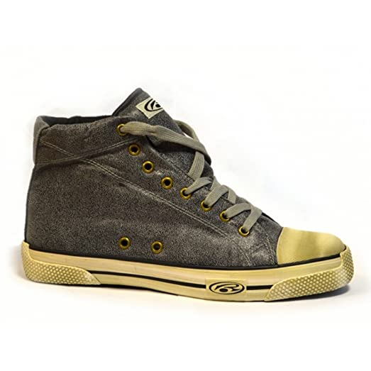 Anthracite Leatherette Distressed Look Hightop Skate Shoes