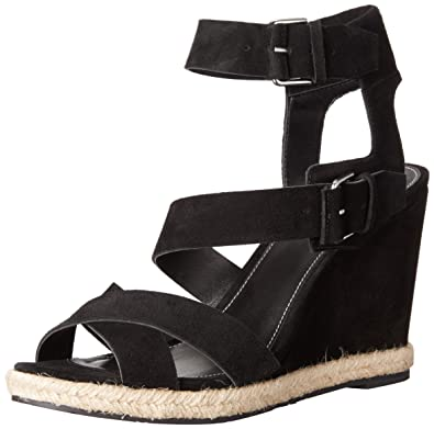 Marc Fisher LTD Women's Karla Wedge Sandal, Black Suede, ...