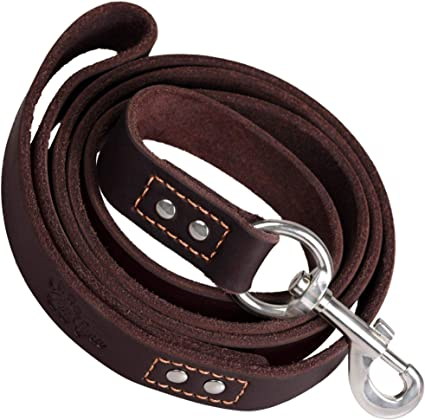 """Genuine Thick Leather Dog Leash 4/' Long for Xlarge Breeds 1/"""" wide"""