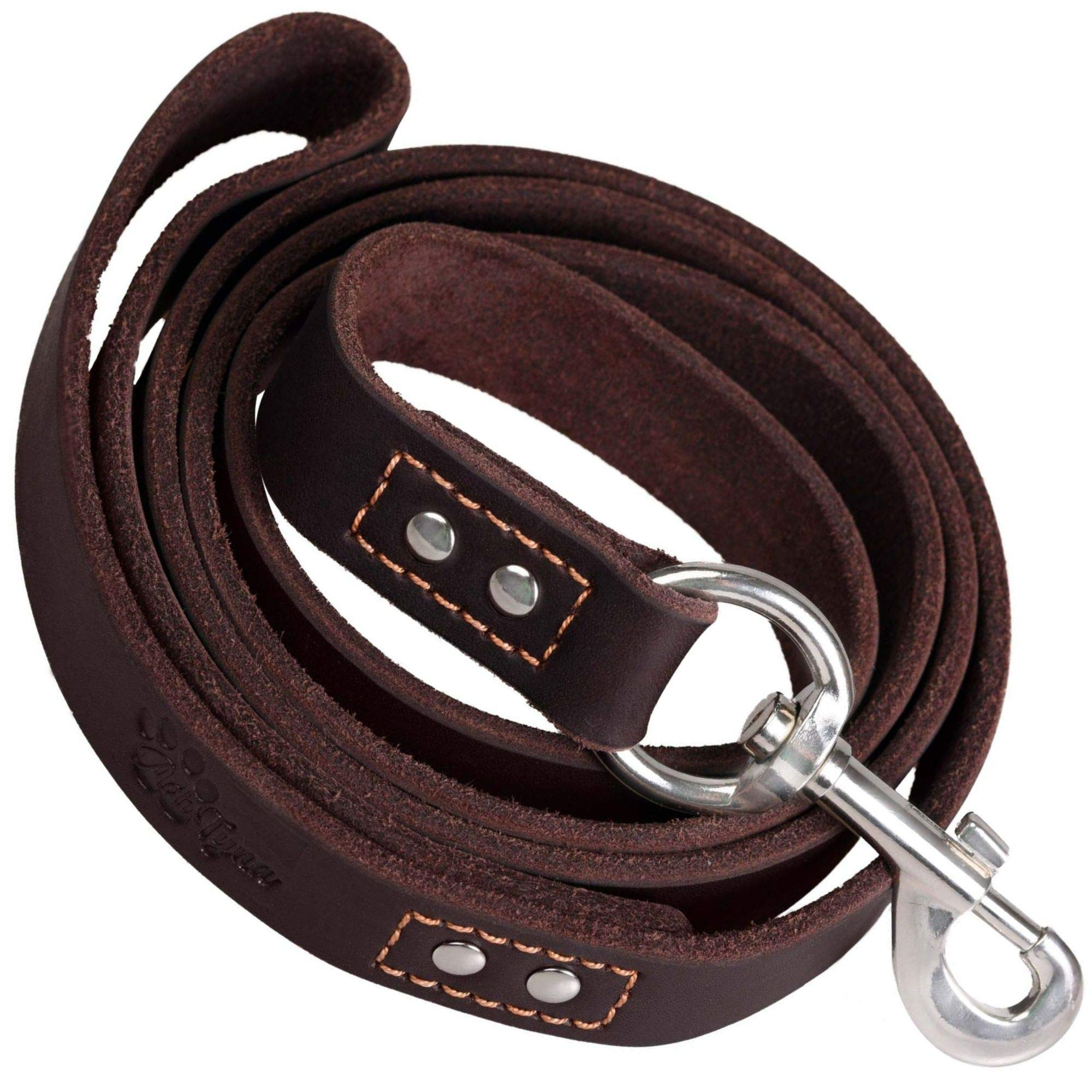 ADITYNA - Heavy Duty Leather Dog Leash 6 Foot - Strong and Soft Leather Leash for Extra Large, Large and Medium Dogs - Dog Training Leash (XL - 6 ft x 1 inch, Brown) by ADITYNA