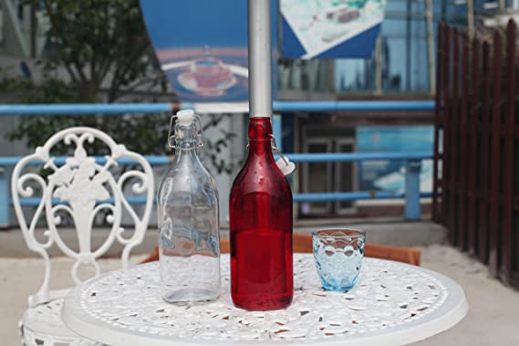Flowersea Botellas de Agua de Cristal Reutilizables con Tapa a Prueba de Fugas, 1 l/34 oz, Botella de Agua para Aceite, vinagre, Bebidas, Cerveza, Agua, ...