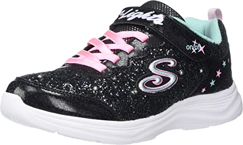 Skechers Glimmer Kicks Glitter N/' Glow Black//Pink Textile Infant Trainers Shoes