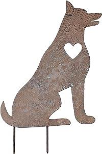 Transpac Sitting German Shepherd Dog Memorial Garden Stake Metal Art Gift for Pet Lover
