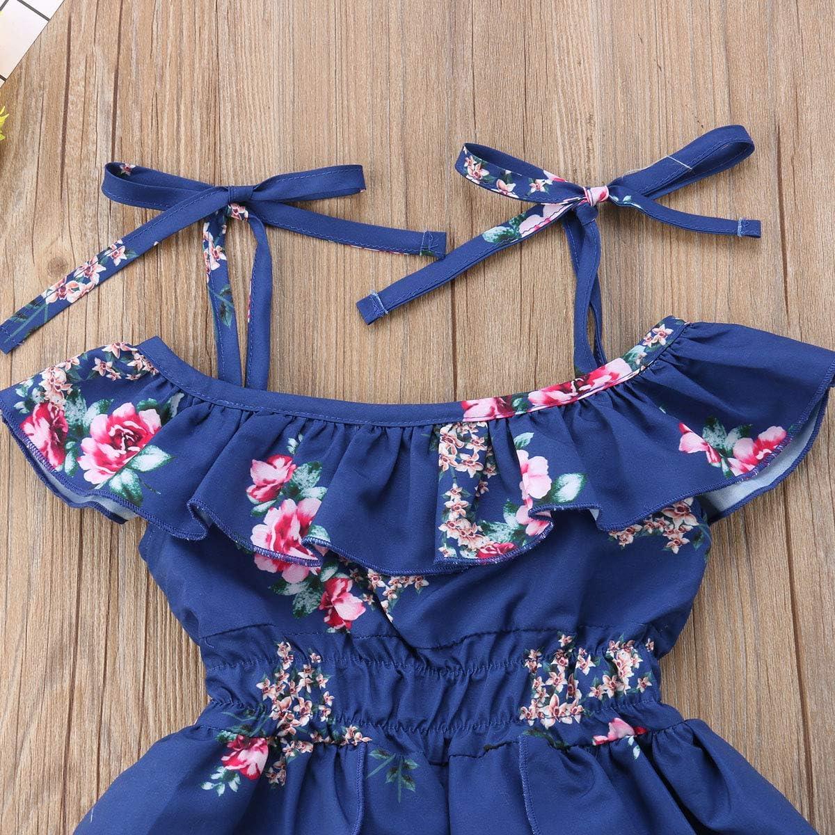 Toddler Baby Girl Halter Off-Shoulder Ruffle Dress Flower Print Shorts Dress