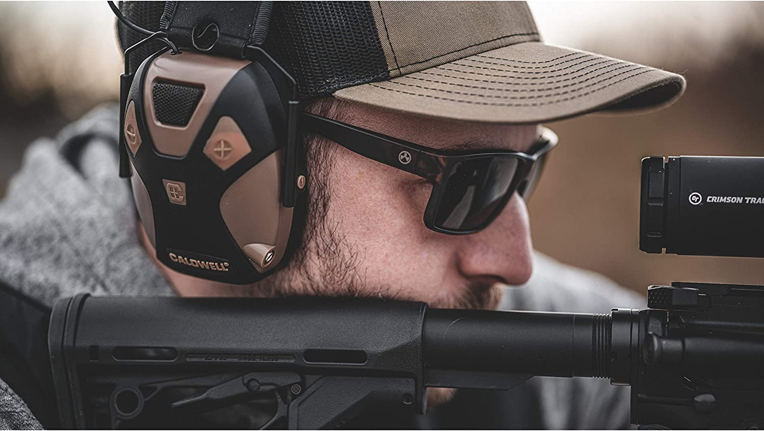 Caldwell E-Max PRO - ADULT FDE - Low Profile Electronic 23 NRR Hearing Protection with Sound Amplification - Adjustable Earmuffs for Shooting, Hunting and Range : Sports & Outdoors