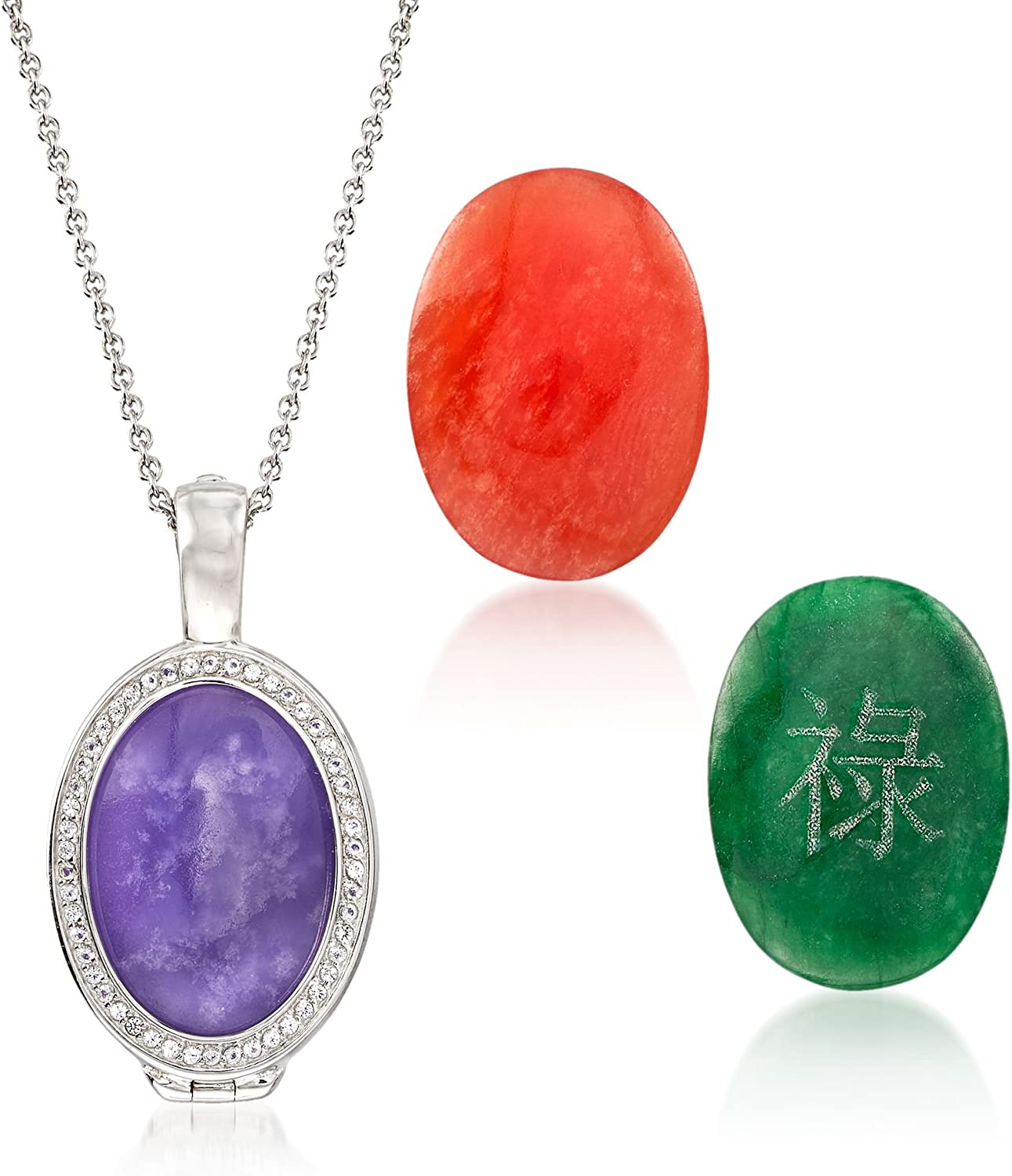 t.w White Topaz in Sterling Ross-Simons Multicolored Interchangeable Oval Jade Cabochon Pendant Necklace With .30 ct