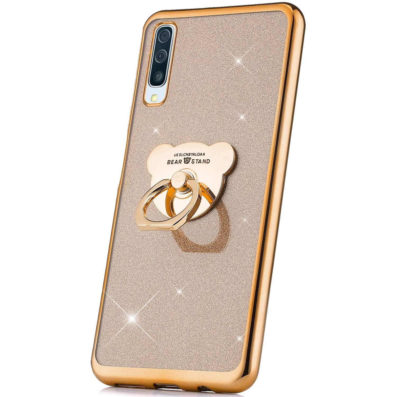 Herbests Kompatibel mit Samsung Galaxy A50 Gl/änzend Diamant Kristall Strass Glitzer TPU Handyh/ülle Handytasche /Überzug Silikon Schutzh/ülle TPU Bumper Case mit Handy Fingerhalterung,Silber