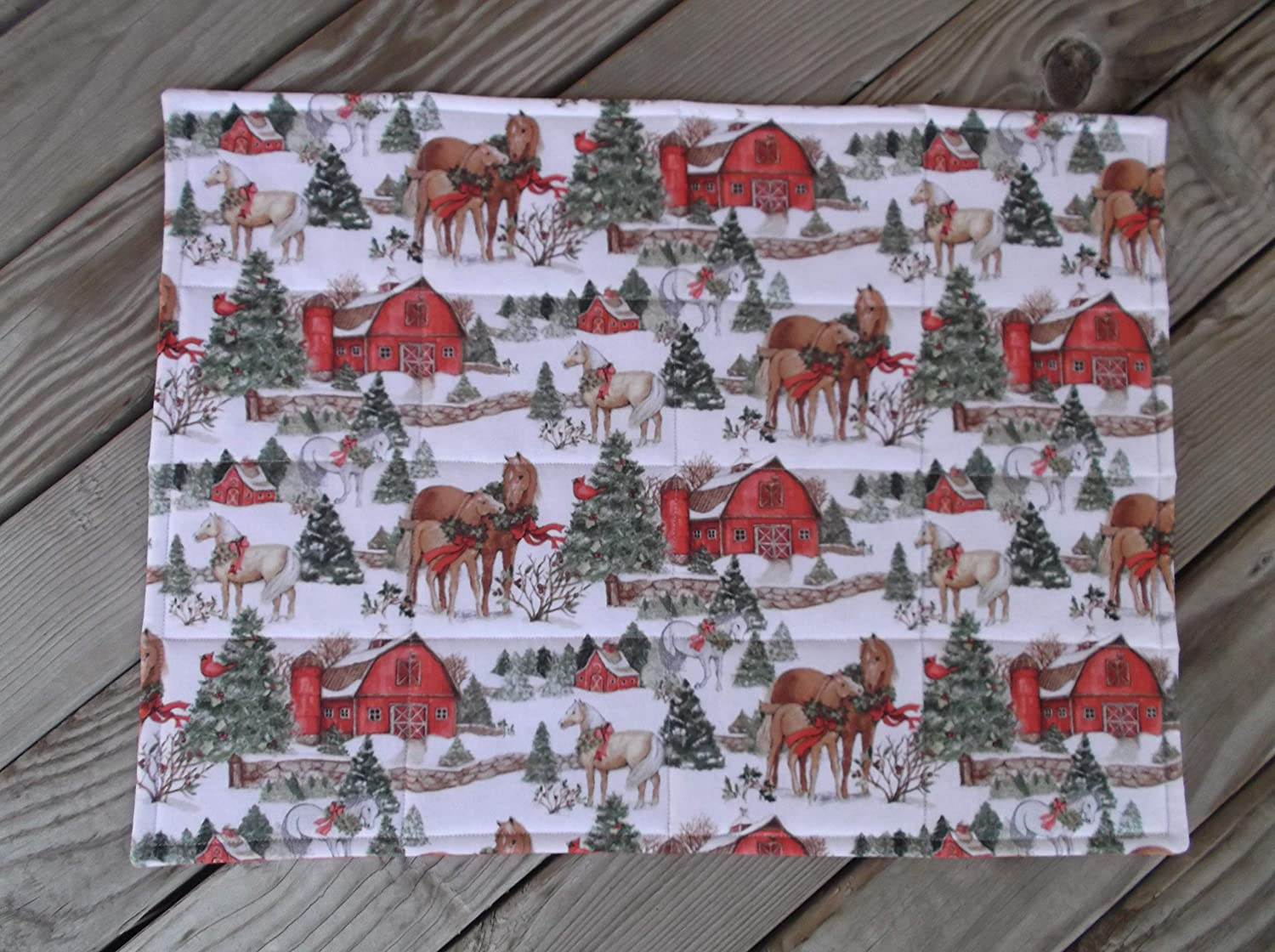 Fall Cabin Scene Quilted Fabric Placemats set of 8