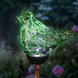 "Exhart Solar Green Hand-Blown Glass Bird Yard Stakes -Bird Garden Stake w/Solar LED Lights in Spiral Bronze Finial Design - Bird Metal Stakes, Bird Decor, Garden Art Bird Ornaments, 7"" L x3 W x30 H"