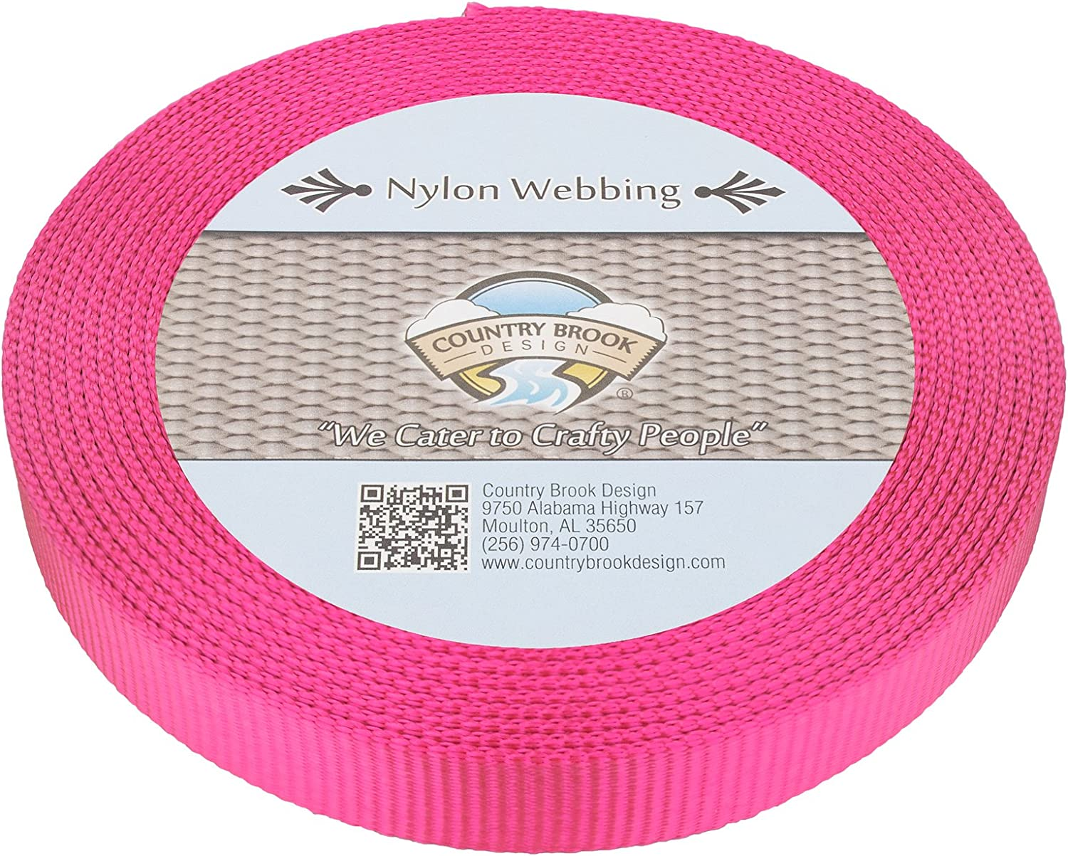 Country Brook Design® 1 Inch Pink Heavy Nylon Strap Webbing 50 Yards