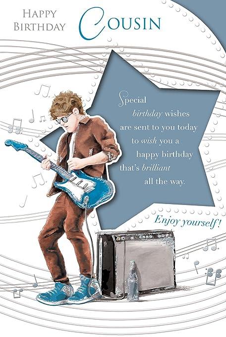 """Primo Tarjeta de cumpleaños - Birthday Boy Playing Azul Brillante Guitarra Eléctrica 9 """"x"""