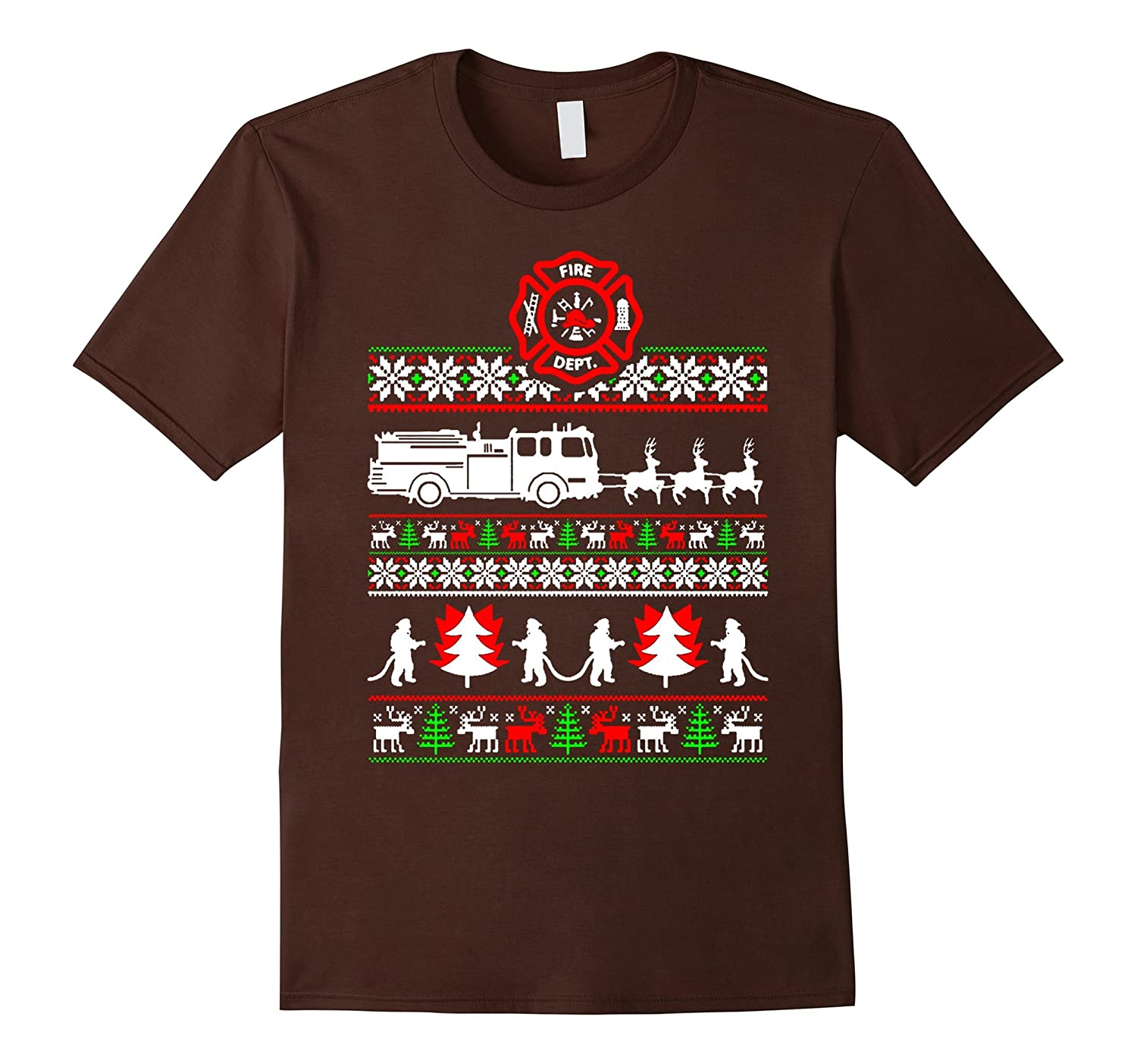 FIREFIGHTER UGLY CHRISTMAS T-SHIRT-Teevkd
