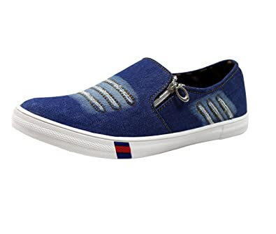 5fe4e31634e Izor Men s Blue Canvas Denim Jeans Style Loafer Shoes 7 UK  Buy ...