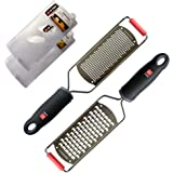 DI ORO Pro Grade Best Handheld Fine Zester & Cheese Grater 2-Piece Kitchen Tool Set – Easily Shreds & Grates Vegetables, Cheeses, Fruits, Other Foods – Razor Sharp Stainless-Steel Blades with Covers