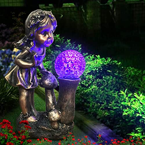 CT DISCOUNT STORE Adorable Curious Little Girl Looking at The Spinning Color Changing Gazing Ball Ball Rotates As The Color Change Outdoor Garden Decoration Statue