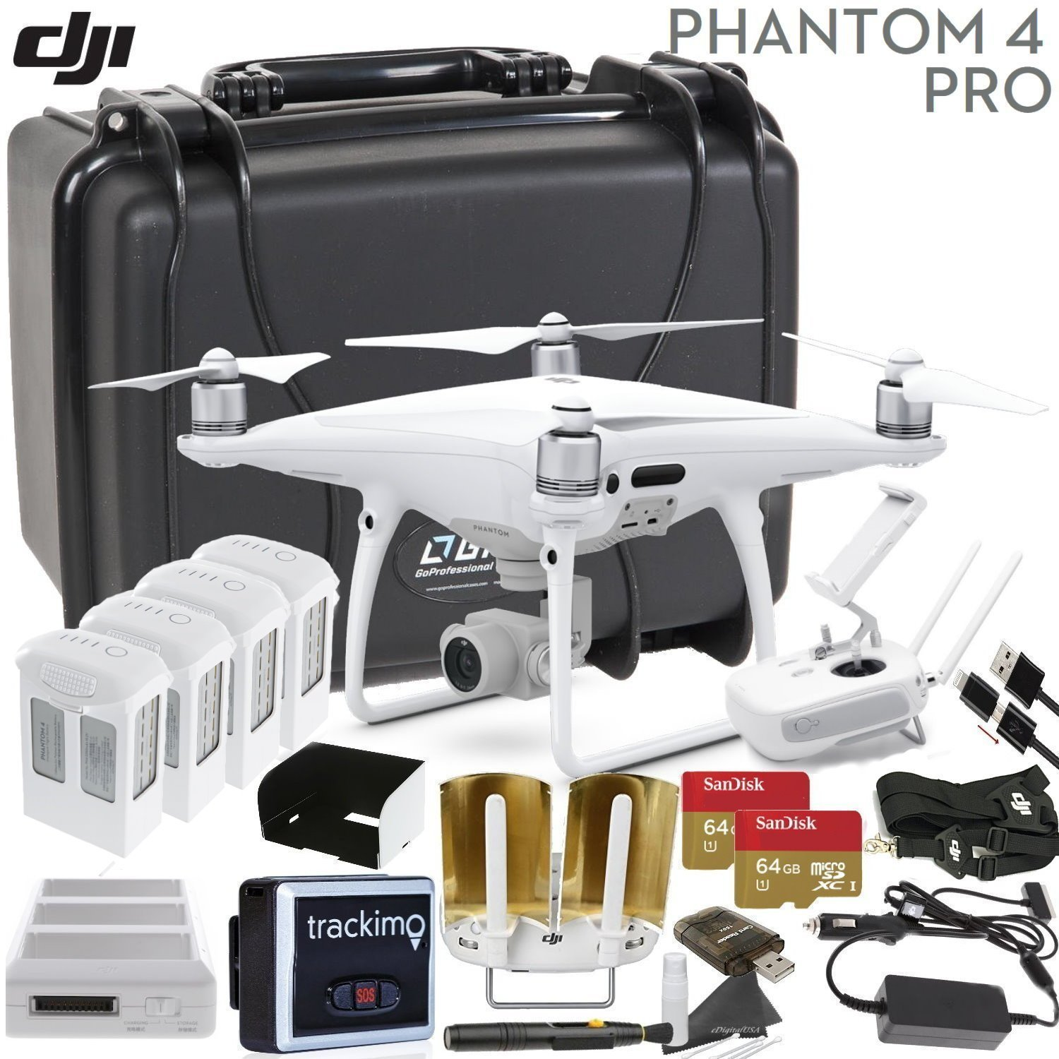 DJI Phantom 4 PRO V2.0 Executive Bundle: Includes Antenna Range Extenders, Trackimo GPS Tracker, 2x SanDisk 64GB High Speed Memory Cards, Go Professional Wheeled Case & More... by DJI